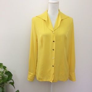 ESCADA 100% Silk Yellow Button Down Blouse